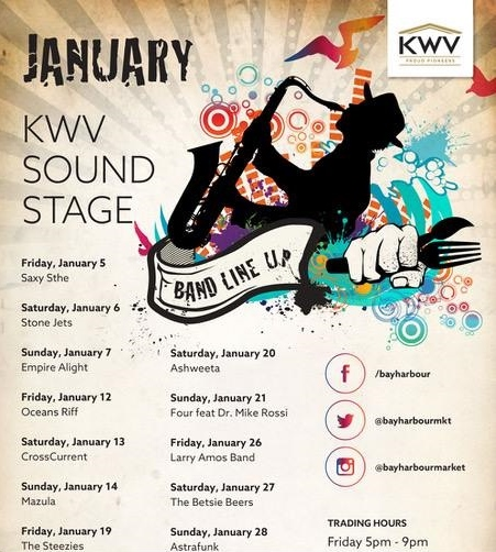 Bay Harbour Market's January Band Line-up